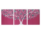 ON SALE Teen Wall Art for Girl Bedroom in Teal and Pink - Tree Painting on Canvas Triptych - Medium 35x14
