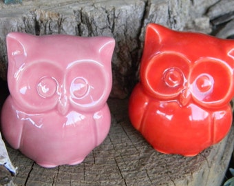 Ceramic  Owl Statue in  red or Pink   Baby   Owl Nursery decoration baby, home or garden statue cm