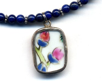 Lapis Blue Necklace, Porcelain Blue and White Floral Pendant on Russian Lapis Necklace, one of a kind necklace handmade jewelry by AnnaArt72