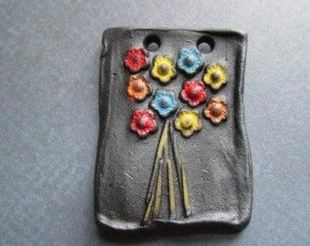 Classic Bead Pocket Full of Posies, Art Bead, Handcrafted Ceramic Pendant, flower pendant, The Classic Bead,gift for gardener,gift for mom