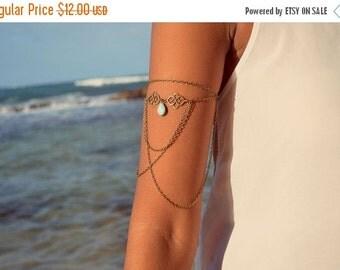 CLEARANCE SALE Arm Chain Bracelet Arm Bracelet Piece Hipster Bronze Silver Chain Moroccan Swirl Charm Turquoise Bead Bohemian Drape Body Jew