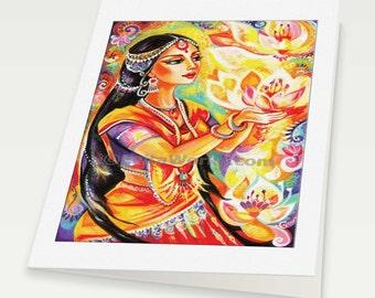 Praying Indian woman spiritual painting altar goddess art lotus Indian decor, Indian woman card, woman card, blank art card, 6x8