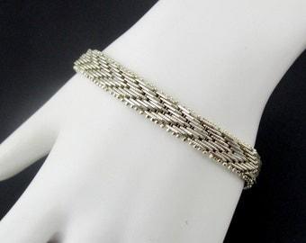 Silver Bracelet Chevron Silver Plated