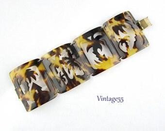 Bracelet Faux Tortoise Tropical Palms 1940