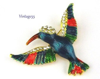 Brooch Hummingbird Rhinestone Enamel