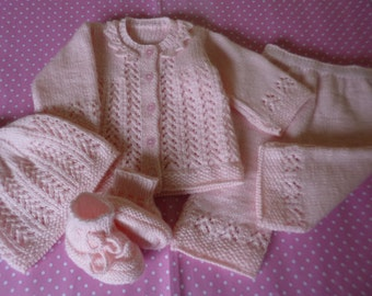 Knitted Baby  Clothing, Coming Home Outfit, Baby Shower Gift, First Baby Ensemble, READY TO SHIP