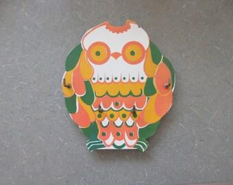 Vintage Key Holder, Owl Key Holder, Made in Japan, 1970s Key Holder, Key Hook, Owl Hanging, Orange Yellow Green, Cute Kawaii Zakka Owl