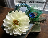 Water Lily Hair Clip Fascinator - Wedding, Tribal Belly Dance, ATS, Hair Garden, Peacock Feather, Lotus, White,