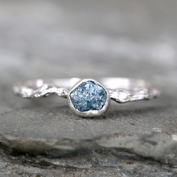 Raw Blue Diamond Twig Engagement Ring Tree Branch Rings