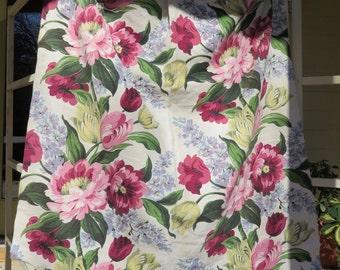 Vintage Floral Bark Cloth Remnant