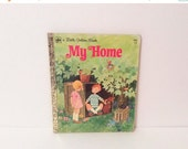50% off storewide SALE Vintage 1972  Book // My Home little Golden Book // Illustrated children's reading