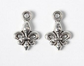 Fleur de lis - Set of 20 charms - Antique Silver - #F264