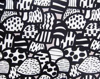 Cotton Fabric By The Yard - Retro Mushrooms on Gray - Half Yard