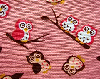 Animal Print Fabric - Cotton Fabric By The Yard Cotton Canvas - Owls on Pink - Half Yard