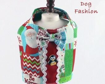 Dog harness, Boy dog harness, Christmas dog harness, Penguins and Santa