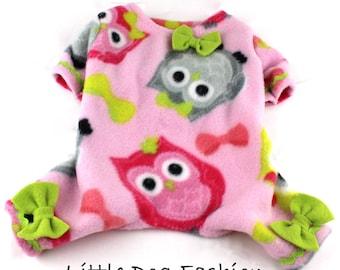Pink Owls Dog Fleece Pajamas