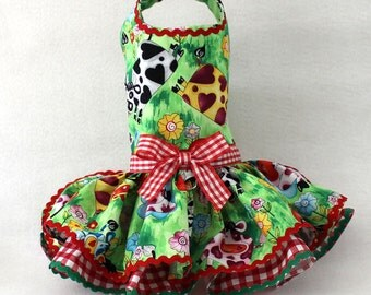 Dog Dress, Dog Harness Dress, Dog Fashion, Ruffle Dress for Small Dogs, Cotton Dress for Dog, Spring Dress, Custom Dog Dress, handmade, Cow