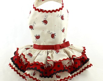 Dog dress, harness dog dress, designer dog dress, Ladybug, red
