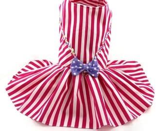Dog Dress, Dog Harness Dress, Summer Dress for Dogs, Pleated Dress for Dog, Dog Fashion, Custom Dog Dress, Handmade, Stripes, Hot Pink