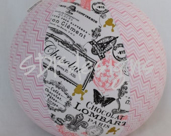 Fabric Balloon Ball Cover - TOY - Pink Eiffel Towel - Paris theme party favor