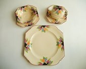 RESERVED for S***** R***: Custom Modernist Art Deco Dinnerware & Serving Pieces, Crescent 'Deco Tulip' aka Leigh Ware 'Paris'