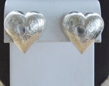 On sale Pretty Vintage Sterling Silver Etched Puff Heart Pierced Earrings