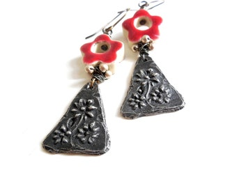 Floral Drop Earrings, Aged Pewter, Red Ceramic Flowers, Champagne Pearls