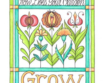 Modern Grow Fraktur Encourage Garden Watercolor Print 8 x 10