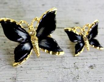 Black Butterfly Brooch Set