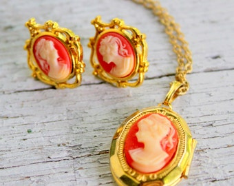 Cameo Locket Necklace Earrings SET Gold Tone