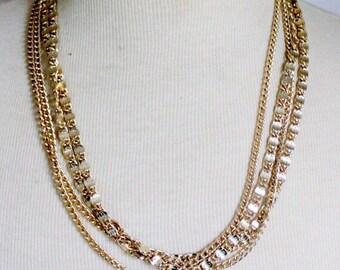 SARAH COVENTRY Necklace Signed Statement Greek Key Multistrand Gold Tone 1960s Vitnage