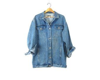 Vintage Denim Field Jacket Oversized Jean Jacket Chore Jacket Slouchy Coat Womens Light Wash Long Denim Barn Coat Women's DELLS Size Small