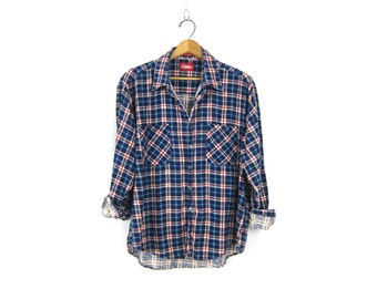 Vintage Plaid Flannel Red White & Blue Grunge Shirt Button Up Long Sleeve Cotton Preppy Tomboy 90s Soft COLEMAN Shirt Vintage Mens Size XL