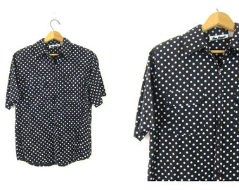 Preppy Blouse 90s Minimal Slouchy Airy Loose Fitting Black and White Polka Dot Button Up Minimalist Modern Women's Size Medium Rayon Blend