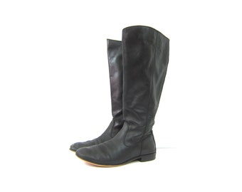 Tall Black Leather Boots 90s Kenneth Cole Boots Vintage Equestrian Riding Boots Womens Preppy Boho Boots Size 8.5