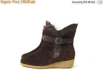 Brown Leather Boots 80s SHERPA Lined Zip Up Snow boots suede Leather wedge Boots women's size 7.5