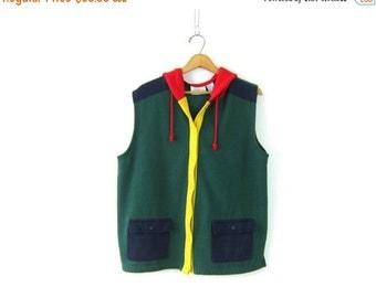 Green Color Block Sweatshirt Vest Jacket Hoodie Sleeveless Coat Outdoor Layering Vest Grunge Hipster Vintage Size Large