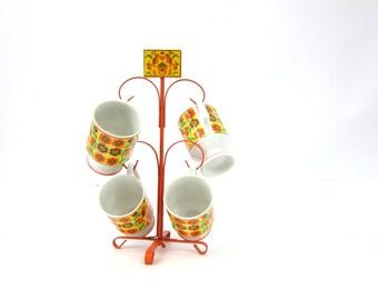 Vintage 1970s orange and yellow Birds Hearts & Flowers set of 4 Hanging Mugs on Metal Tree Hanger Retro Kitchen Home Decor