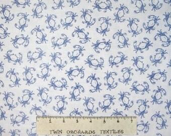 Nautical Fabric - Sea BLue & White Crabs  - Timeless Treasures YARD