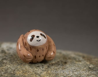 Little Sloth - Miniature Polymer Clay Animal Sculpture - Terrarium Figurine - Hand Sculpted