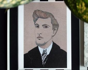 Amedeo Modigliani by julie tillman original illustrated portrait print. Studio Flash sale art on sale watercolor portrait