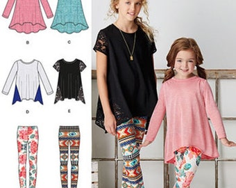GIRL CLOTHES PATTERN / Knit Tunics and Leggings In sizes 3 to 6 or 7 - 14 / School - Play Clothes