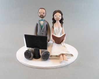 Cake Toppers - Custom Handmade Seated Couple Wedding Cake Topper