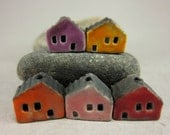 5 Saggar Fired Miniature House Beads...Purple Yellow Pumpkin Orange Pink Red