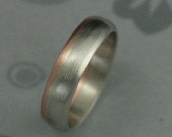 Two Tone Band--Gold Wedding Ring--Two Tone Gold Ring--Rose Gold and White Gold Band--Modern Wedding Band--Satin Finish Band--Modern Men