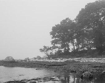 Island Photo, Beach Decor, Ocean Photograph, Wall Art, Coastline Print, Dreamy Photo, New England, Black, White, Grey, Fine Art Photography