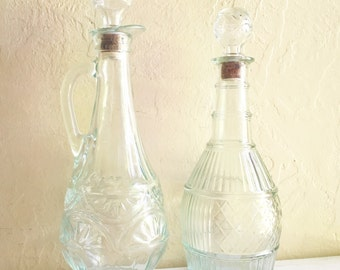 Pair of Beautiful Glass Decanter Bottles with Cork Stoppers