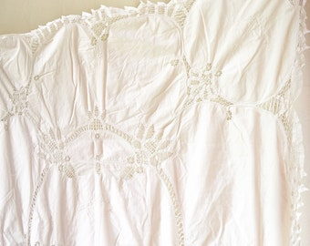 Vintage Linen Natural Tan Ecru Embroidered Tablecloth with Cutwork Rectangular Table Cloth