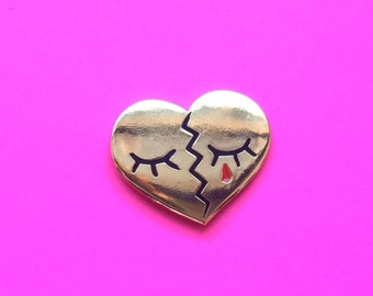 "last one- 1.25"" BROKEN HARD- Hard Enamel Gold Lapel Pin Brooch"