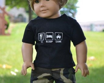 18 inch Doll Clothes, Graphic T-shirt, Eat Sleep Game, Gamer Style, Boy Doll Clothes, Black Tee, fits American Girl